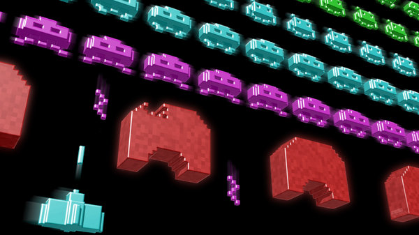 3D Space Invaders Wallpaper 1920x1080