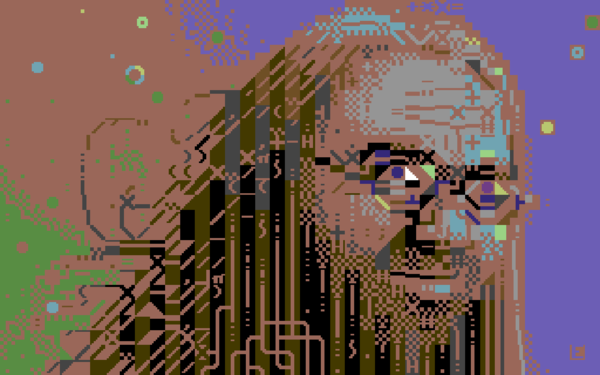 Jeff Minter portrait done in PETSCII (C64)