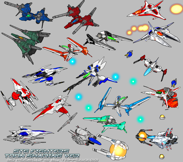 Shmup Fighters Toon-Shading Version by Tarrow100