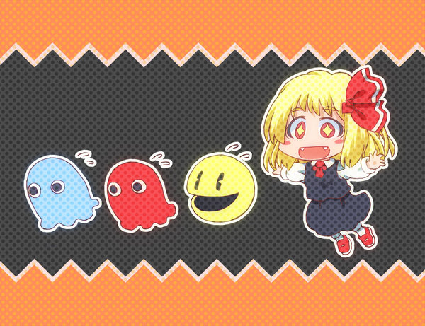 Akabei Aosuke Pac-Man and Rumia and Touhou drawn by Matty (Zuwzi)