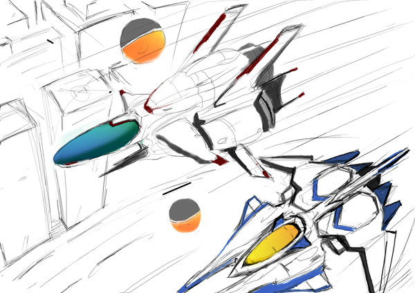 Arrowhead Bit and Vic Viper Gradius and R-Type drawn by Yukkurizumu